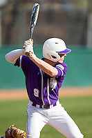 Chris Clare (9) of the High Point Panthers at bat against the Coastal Carolina Chanticleers at Willard Stadium on March 15, 2014 in High Point, North Carolina.  The Chanticleers defeated the Panthers 1-0 in the first game of a double-header.  (Brian Westerholt/Four Seam Images)