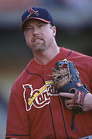 Mark McGwire of the St. Louis Cardinals during a 2001 season MLB game at Dodger Stadium in Los Angeles, California. (Larry Goren/Four Seam Images)