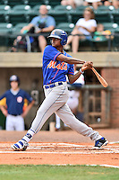 Kingsport Mets right fielder Jose Miguel Medina (44) swings at a pitch during a game against the Greeneville Astros at Pioneer Park on July 3, 2016 in Greeneville, Tennessee. The Mets defeated the Astros 11-0. (Tony Farlow/Four Seam Images)