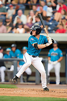 Grand Rapids Dam Breakers Daniel Cabrera (5) bats during a game against the Fort Wayne TinCaps on August 21, 2021 at LMCU Ballpark in Comstock Park, Michigan.  The West Michigan Whitecaps rebranded for the day as the Grand Rapids Dam Breakers to bring awareness to the Grand River Restoration Project. (Mike Janes/Four Seam Images)