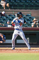 Surprise Saguaros shortstop Santiago Espinal (6), of the Toronto Blue Jays organization, at bat during an Arizona Fall League game against the Scottsdale Scorpions at Scottsdale Stadium on October 26, 2018 in Scottsdale, Arizona. Surprise defeated Scottsdale 3-1. (Zachary Lucy/Four Seam Images)