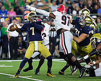 Notre Dame, Indiana - September 9, 2017: The twenty fourth ranked Notre Dame Fighting Irish host the fifteenth ranked University of Georgia Bulldogs at Notre Dame Stadium.