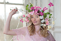 Model shoot at Lillesden School for Girls, model Clara Lynn Smith of Oxygen Models Management, flowers by Harriet Parry