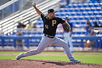 Pittsburgh Pirates pitcher David Bednar (51) during a Major League Spring Training game against the Toronto Blue Jays on March 1, 2021 at TD Ballpark in Dunedin, Florida.  (Mike Janes/Four Seam Images)