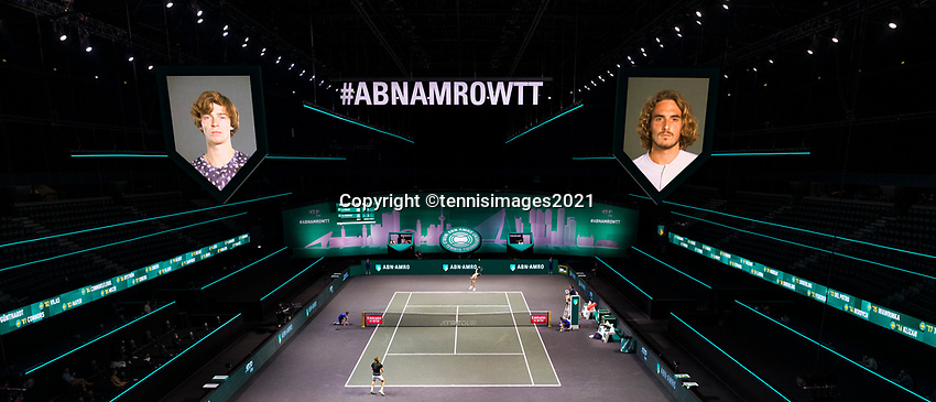 Rotterdam, The Netherlands, 6 march  2021, ABNAMRO World Tennis Tournament, Ahoy,  <br /> Semi final: Stefanos Tsitsipas (GRE) vs Andrey Rublev (RUS). Photo: www.tennisimages.com/