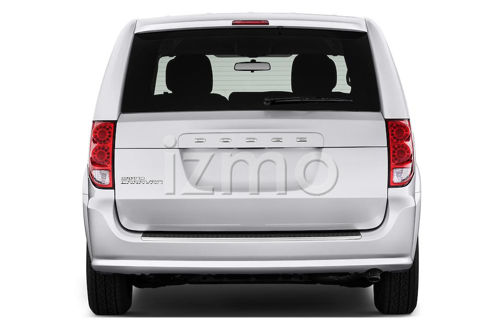 Straight rear view of 2018 Dodge Grand-Caravan SE 5 Door Minivan Rear View  stock images