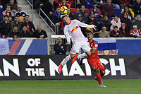 Harrison, NJ - Thursday March 01, 2018: Marc Rzatkowski, German Mejía. The New York Red Bulls defeated C.D. Olimpia 2-0 (3-1 on aggregate) during a 2018 CONCACAF Champions League Round of 16 match at Red Bull Arena.