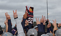 """Easton, Massachusetts - November 20, 2016: NCAA Division II Field Hockey Championship final. Shippensburg University (blue) defeated LIU Post (white), 2-1, on Coughlin Memorial Field, in W.B. Mason Stadium at Stonehill College. """"Twos"""" honor former player Amanda Strous, who played wearing #22."""