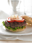 A gourmet burger on a kaiser roll, with tomatoes, lettuce, and grilled onion
