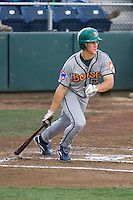 July 19, 2007: Boise Hawks' Kyler Burke exits the batter's box after making contact against the Everett AquaSox in a Northwest League game at Everett Memorial Stadium in Everett, Washington.