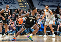 WASHINGTON, DC - FEBRUARY 19: Maliek White #4 of Providence move the ball up court during a game between Providence and Georgetown at Capital One Arena on February 19, 2020 in Washington, DC.