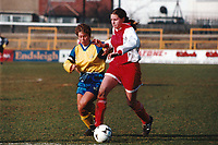 Kelly Smith of Wembley and Gillian Coluthard of Doncaster during Doncaster Belles vs Wembley Ladies, FA Women's Premier League Cup Final Football at Underhill, Barnet FC on 10th March 1996