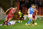Aberdeen v St Johnstone…22.09.16.. Pittodrie..  Betfred Cup<br />Steven MacLean is closed down by Graeme Shinnie<br />Picture by Graeme Hart.<br />Copyright Perthshire Picture Agency<br />Tel: 01738 623350  Mobile: 07990 594431