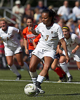 Boston College midfielder/defender Casey Morrison (3) penalty kick score. Boston College defeated University of Virginia, 2-0, at the Newton Soccer Field, on September 18, 2011.