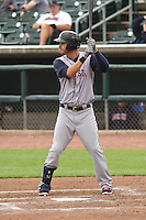 Colorado Springs Sky Sox first baseman Matt Clark (23) at bat during a Pacific Coast League game against the Iowa Cubs on May 10th, 2015 at Principal Park in Des Moines, Iowa.  Iowa defeated Colorado Springs 14-2.  (Brad Krause/Four Seam Images)