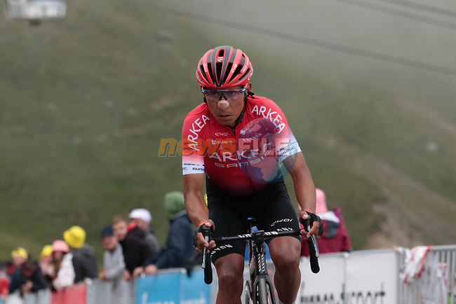 Nairo Quintana (COL) Team Arkea-Samsic rounds the final hairpin on Col du Portet during Stage 17 of the 2021 Tour de France, running 178.4km from Muret to Saint-Lary-Soulan Col du Portet, France. 14th July 2021.  <br /> Picture: Colin Flockton | Cyclefile<br /> <br /> All photos usage must carry mandatory copyright credit (© Cyclefile | Colin Flockton)