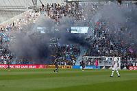 SAINT PAUL, MN - JUNE 23: Minnesota United FC supporters celebrate a goal during a game between Austin FC and Minnesota United FC at Allianz Field on June 23, 2021 in Saint Paul, Minnesota.