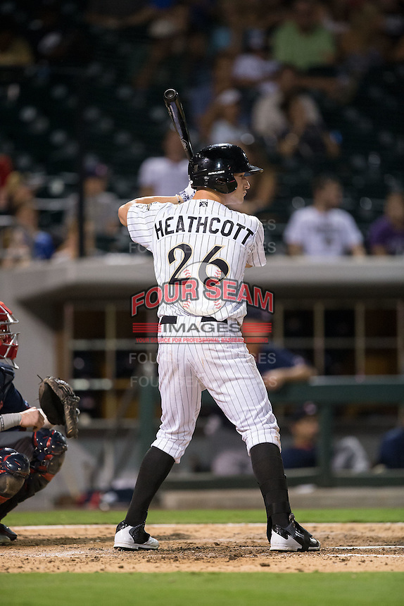 Slade Heathcott (26) of the Charlotte Knights at bat against the Pawtucket Red Sox at BB&T BallPark on July 6, 2016 in Charlotte, North Carolina.  The Knights defeated the Red Sox 8-6.  (Brian Westerholt/Four Seam Images)