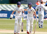 Jordan Cox (L) and Ollie Robertson of Kent during Kent CCC vs Northamptonshire CCC, LV Insurance County Championship Group 3 Cricket at The Spitfire Ground on 5th June 2021