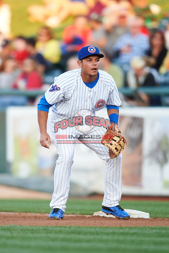 South Bend Cubs first baseman Gioskar Amaya (13) during a game against the Cedar Rapids Kernels on June 5, 2015 at Four Winds Field in South Bend, Indiana.  South Bend defeated Cedar Rapids 9-4.  (Mike Janes/Four Seam Images)