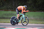 Tom Dumoulin (NED) in action on the Imola race circuit during the 31.7km Men Elite Time Trial of the 2020 UCI World Championships held around Imola, Italy. 25th September 2020.  <br /> Picture: Sirotti Stefano | Cyclefile<br /> <br /> All photos usage must carry mandatory copyright credit (© Cyclefile | Sirotti Stefano)