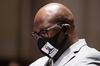 """Mr. Philonise Floyd, brother of George Floyd looks on during the opening statements at a House Judiciary Committee hearing on """"Policing Practices and Law Enforcement Accountability"""", on Capitol Hill, in Washington D.C., Wednesday, June 10, 2020.<br /> Credit: Graeme Jennings / Pool via CNP/AdMedia"""