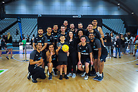 The NZ Men pose for a group photo with fans after the Cadbury Netball Series match between NZ Silver Ferns and NZ Men at the Fly Palmy Arena in Palmerston North, New Zealand on Thursday, 22 October 2020. Photo: Dave Lintott / lintottphoto.co.nz