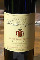 Cuvee Romain Pauc 2004. Chateau la Voulte Gasparets. In Gasparets village near Boutenac. Les Corbieres. Languedoc. France. Europe. Bottle.