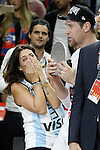 Real Madrid's Andres Nocioni celebrates with his wife the MVP in the Euroleague Final Match. May 15,2015. (ALTERPHOTOS/Acero)