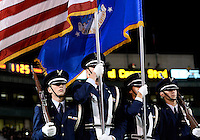 Members of USAF ROTC present colors before NCAA football game kickoff at Floyd Casey Stadium in Waco, TX.before NCAA football game kickoff at Floyd Casey Stadium in Waco, TX.
