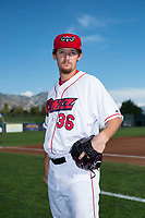 Orem Owlz pitcher Rion Murrah (36) poses for a photo prior to a Pioneer League game against the Ogden Raptors at the Home of the OWLZ on August 24, 2018 in Orem, Utah. The Ogden Raptors defeated the Orem Owlz by a score of 13-5. (Zachary Lucy/Four Seam Images)