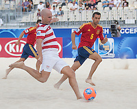 PAPEETE, Tahiti - Thursday September 19, 2013: US Men's National Beach Soccer Team loses their opening group stage match versus Spain 5-4 at the 2013 Fifa Beach Soccer world Cup in Papeete, Tahiti