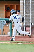 Pulaski Yankees right fielder Frederick Cuevas (27) runs to first base during game one of the Appalachian League Championship Series against the Elizabethton Twins at Joe O'Brien Field on September 7, 2017 in Elizabethton, Tennessee. The Twins defeated the Yankees 12-1. (Tony Farlow/Four Seam Images)