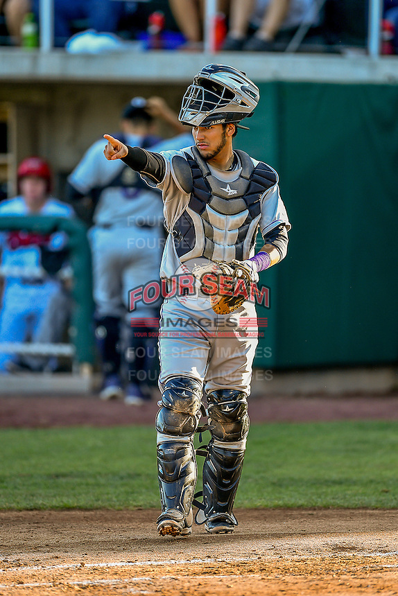 Joel Diaz (5) of the Grand Junction Rockies during the game against the Orem Owlz in Pioneer League action at Home of the Owlz on July 7, 2016 in Orem, Utah. The Owlz defeated the Rockies 15-3. (Stephen Smith/Four Seam Images)
