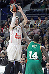 Real Madrid's Andres Nocioni (l) and Panathinaikos Athens' James Gist during Euroleague match.January 22,2015. (ALTERPHOTOS/Acero)