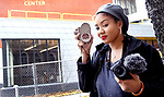 WATERBURY CT. - 09 January 2020-011121SV06-Mya Gray of Waterbury outside the Mattatuck Museum in Waterbury Monday. Mya a local college student produced a documentary about successful African-American entrepreneurs.<br /> Steven Valenti Republican-American
