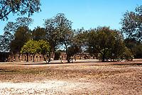"""San Antonio:  Mission San Jose perimeter walls. """"Almost impregnable"""" to Apache & Comanche raids."""