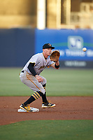 Bradenton Marauders second baseman Mitchell Tolman (5) waits to receive a throw during the second game of a doubleheader against the Tampa Yankees on April 13, 2017 at George M. Steinbrenner Field in Tampa, Florida.  Tampa defeated Bradenton 2-1.  (Mike Janes/Four Seam Images)