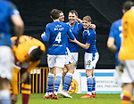 Motherwell v St Johnstone…20.02.21   Fir Park   SPFL<br />Jason Kerr celebrates his goal with Liam Gordon, Ali McCann and Jamie McCart<br />Picture by Graeme Hart.<br />Copyright Perthshire Picture Agency<br />Tel: 01738 623350  Mobile: 07990 594431