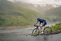 Davide Ballerini (ITA/Deceuninck - QuickStep) descending the Col du Pré (HC/1748m) towards the Barrage de Roselend in, yet again, grim conditions.<br /> <br /> Stage 9 from Cluses to Tignes (145km)<br /> 108th Tour de France 2021 (2.UWT)<br /> <br /> ©kramon