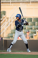 Carlos Herrera (4) of the Asheville Tourists at bat against the Kannapolis Intimidators at Kannapolis Intimidators Stadium on May 26, 2016 in Kannapolis, North Carolina.  The Tourists defeated the Intimidators 9-6 in 11 innings.  (Brian Westerholt/Four Seam Images)
