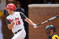 Jeremy Baltz #18 of the St. John's Red Storm follows through on his swing against the VCU Rams at the Charlottesville Regional of the 2010 College World Series at Davenport Field on June 5, 2010, in Charlottesville, Virginia.  The Red Storm defeated the Rams 8-6.  Photo by Brian Westerholt / Four Seam Images