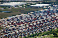 aerial photograph of the BNSF Railway Intermodal Facility, Fort Worth, Texas. in the background left, Walmart distribution Center; right JC Penny Distribution Center