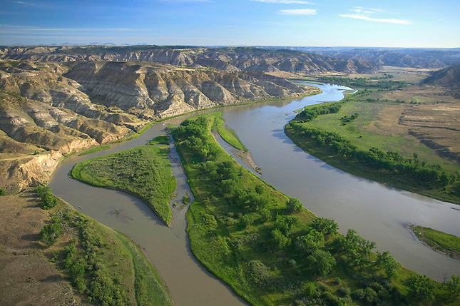 Missouri River winding through bad lands