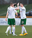 Hib's Scott Allan (20) celebrates with David Gray (2) after he scores their first goal.
