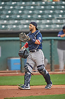 José Godoy (27) of the Tacoma Rainiers on defense against the Salt Lake Bees at Smith's Ballpark on May 16, 2021 in Salt Lake City, Utah. The Bees defeated the Rainiers 8-7. (Stephen Smith/Four Seam Images)