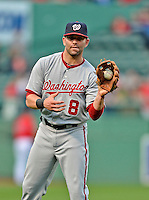 8 June 2012: Washington Nationals second baseman Danny Espinosa tosses some ball prior to a game against the Boston Red Sox at Fenway Park in Boston, MA. The Nationals defeated the Red Sox 7-4 in the opening game of their 3-game series. Mandatory Credit: Ed Wolfstein Photo