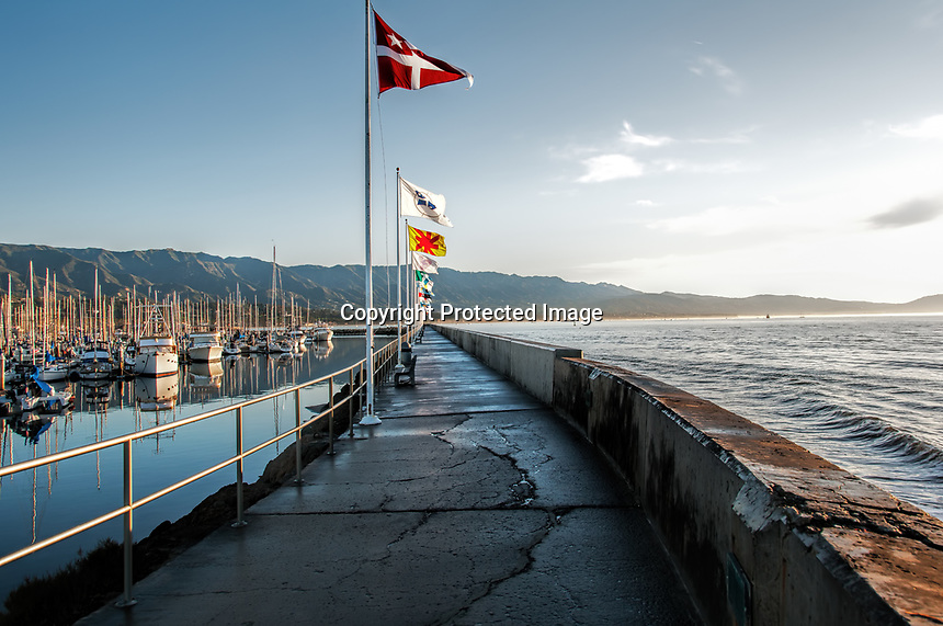 The breakwater at Santa Barbara Harbor one January morning, California.