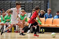 Hamza Alfayad of Selwyn College during the Futsal NZ Secondary Schools Junior Boys Final between Hamilton Boys High School and Selwyn College at ASB Sports Centre, Wellington on 26 March 2021.<br /> Copyright photo: Masanori Udagawa /  www.photosport.nz
