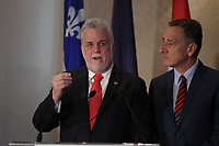 Quebec Premier Philippe Couillard (L) meet with Vermont Governor Peter Shumlin (R),  October 27, 2015.<br /> <br /> Peter Elliott Shumlin is an American politician and member of the Democratic Party who serves as the 81st and current Governor of Vermont and has served as chair of the Democratic Governors Association since December 2012. <br /> <br /> PHOTO : Pierre Roussel - Agence Quebec Presse